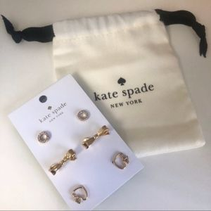 KATE SPADE 12K Gold Plated 3 Piece Earring Set